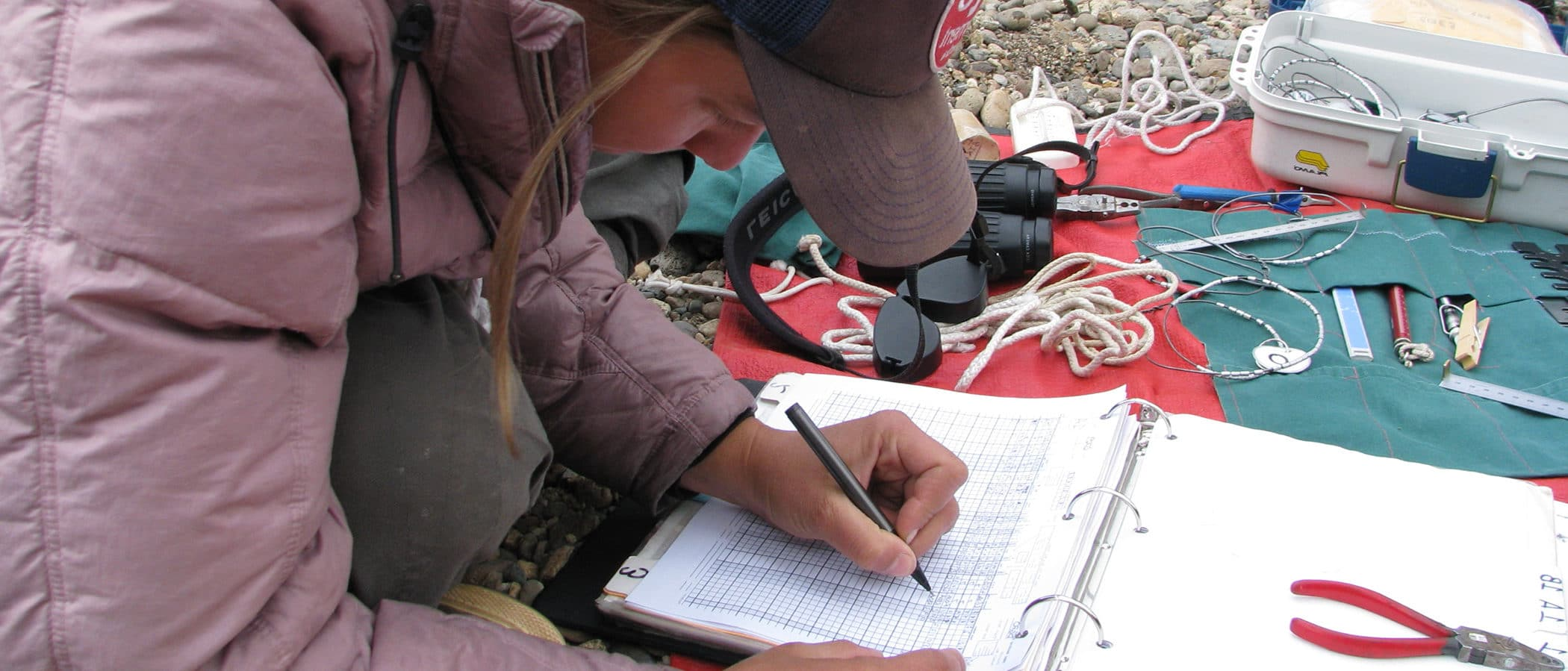Researcher sits on the ground with binoculars and research equipment as she records data in a binder.