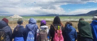 Eight students stand in a line looking out at a very green Mono Lake with waves on it and with a tufa island and the Mono Craters in the distance, and they are all wearing cool-weather outdoor gear.